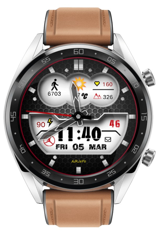 Black and white digital watch face theme