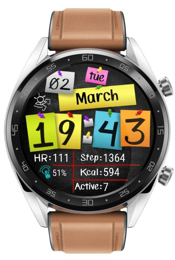 Colorful paper digital watch face 42 mm